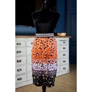Anthropologie Leopard Pencil Sweater Skirt